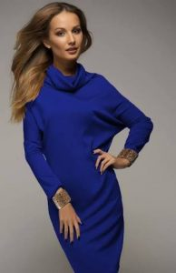 синее платье-свитер, фото | Вика Барва